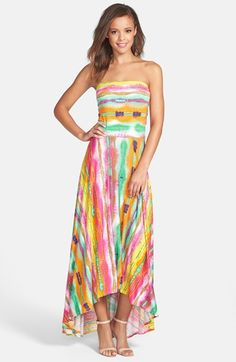 FELICITY & COCO Strapless Neon Print Maxi Dress (Nordstrom Exclusive) available at #Nordstrom