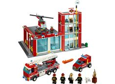 It's a peaceful day in the LEGO City Fire Station The fire chief sips his coffee in his office while a firefighter repairs the truck and another . Lego Toys, Lego Duplo, Lego City Fire Station, Station Fire, Police Station, Lego Fire, Lego City Sets, Vans Kids, Into The Fire