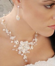 Floral Freshwater Pearl and Crystal Bridal Jewelry Set