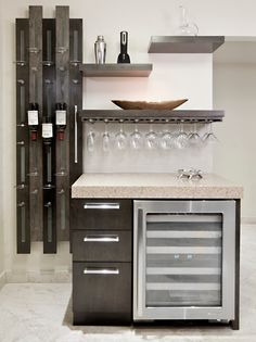Magnificent Wet Bar decorating ideas for Lovely Kitchen Contemporary design ideas with custom floating shelves hanging glasses hanging wine glasses home bar open shelves