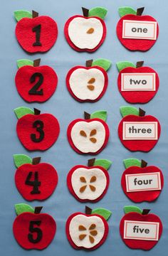 This set can be used to develop: Counting—how many seeds on each apple, counting to five Matching—numerals, number word, and quantity of seeds