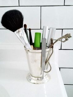 Use everyday objects you already have around your home — or can easily find at a flea market or tag sale — to make creative storage and organizing solutions for your bathroom.
