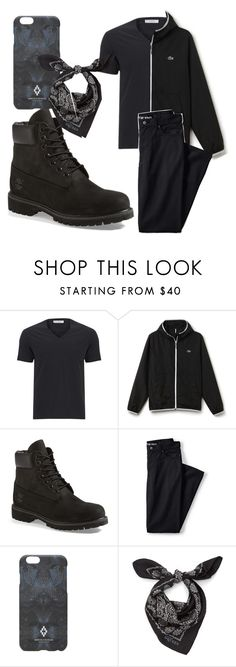 """""""Zane"""" by theblueraider ❤ liked on Polyvore featuring Versace, Lacoste, Timberland, Lands' End, Marcelo Burlon, Alexander McQueen, men's fashion and menswear"""