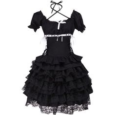 Partiss Women's Short Sleeves Ruffles Lace Gothic Lolita Dress ($59) ❤ liked on Polyvore featuring dresses, frilly dresses, short sleeve lace dress, flounce dress, flutter-sleeve dress and ruffle cocktail dress