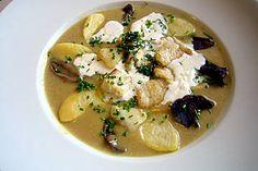 Norwegische Kartoffel - Steinpilz - Suppe mit Heilbutt