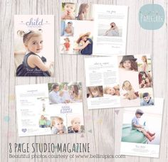 8 Page Child Photography Magazine Template PG011 | Paper Lark Designs