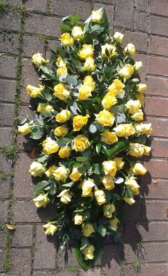 Yellow Rose double-ended coffin spray
