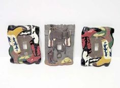 3 Western Decor Resin Switch Plates Boots Cowboy Gear light  lite switch cover #LightSwitchCovers Light Switch Plates, Light Switch Covers, Casual Decor, Cowboy Gear, Electrical Switches, Outlet Covers, Western Decor, Wild West, Gears