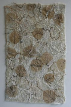 Pearly Leaves - with beads, silk and skeleton leaves