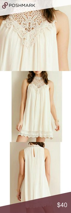 ONLY 1 LEFT LOVE this dress. It has gorgeous details. Creme color. Comes w an extra button. Dresses