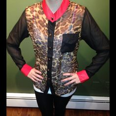 CHEETAH PRINT BLOUSE MAKE AN OFFER Stunning sheer cheetah print blouse with red collar and cuffs brand new NWT Ella collection Tops Blouses