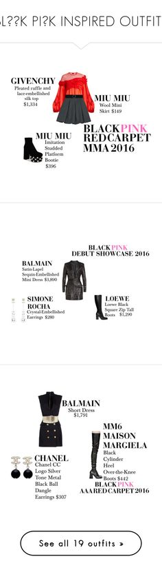 """""""BLΛƆK PIИK INSPIRED OUTFITS"""" by beulping on Polyvore featuring Givenchy, Miu Miu, CHARLES & KEITH, Balmain, Loewe, Simone Rocha, Isabel Marant, MM6 Maison Margiela, Chanel and Alexander McQueen"""