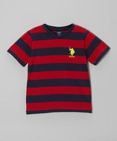 This Red & Navy Stripe Tee - Toddler by U.S. Polo Assn. is perfect! #zulilyfinds