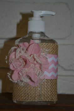 for the guest bath - Burlap Hand Sanitizer