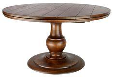 Villiersdiningtablediningroomtablestraditionalwood Dining - 54 inch round pedestal dining table with leaf