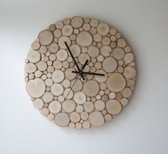 natural white birch forest wood clock (Large) - heat and initials modern rustic wall clock wood slices wall art tree branch wall hanging (82.00 USD) by urbanplusforest