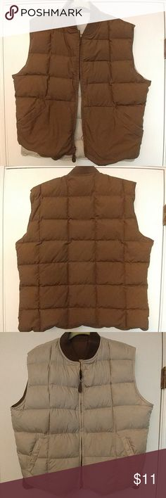"🆕LISTING!🎉Reversible Puffer Vest Reversible khaki & brown puffer vest, one small stain on khaki side, not sure if it will come out but you can try, no tags so I would say its about a size XL based on measurements which are: pit to pit 24"" & Length is 26"". zipper works, 2 deep pockets on outside, smoke free home Jackets & Coats Puffers"