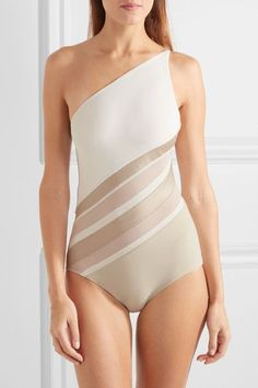 LA PERLA Diagonal Touch one-shoulder paneled metallic jersey and mesh swimsuit