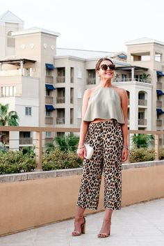 Leopard Pants & Olive Trapeze Top // style blogger Fashion & Frills // vacation outfit idea // http://fashionandfrills.com/olive-leopard-in-cayman/