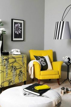 Black and Yellow Living Room. Black and Yellow Living Room. Grey Living Room Ideas Furniture and Accessories that Prove Black And White Living Room, Living Room Grey, Living Room Chairs, Living Room Decor, Living Rooms, Cozy Living, Small Living, Grey Room, Modern Living