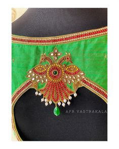 Embroidery Works, Embroidery Motifs, Peacock Embroidery Designs, Best Blouse Designs, Pattu Saree Blouse Designs, Hand Work Blouse Design, Embroidered Blouse, Blouse Styles, Maggam Works