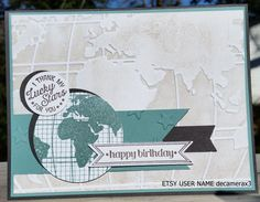 Handmade BIRTHDAY Card Kit, Set of 4,  STAMPIN' UP! Going Global by decamerax3 on Etsy