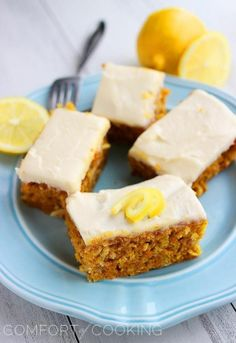 The Comfort of Cooking Carrot Cake Bars with Lemon Cream Cheese Frosting Carrot Cake Bars, Easy Carrot Cake, Sweet Recipes, Cake Recipes, Dessert Recipes, Meal Recipes, Cheese Recipes, Dessert Ideas, Just Desserts