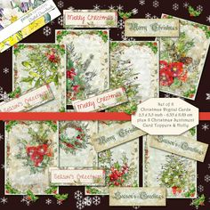 Printable Traditional Christmas Card Toppers Cardmaking ATC ACEO Instant download Vintage Retro Xmas Sentiments Print Cut Cricut Holly Christmas Words, Christmas Rose, Christmas Cards To Make, Xmas Cards, Christmas Sentiments, Christmas Greetings, Christmas Traditions, Cricut Print And Cut, New Baby Cards