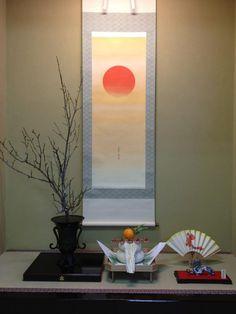 "Sunrise or Sunset? Beautiful for a summer display!!!""Tokonoma"" decoration of Oshogatu in 2012"