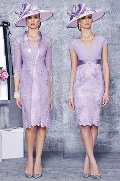 Sheath/Column V-neck Knee-length Chiffon Lace Mother of the Bride Dress