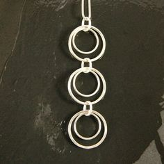 Double Circle Trio Sterling Silver Pendant Necklace by 4byKaren