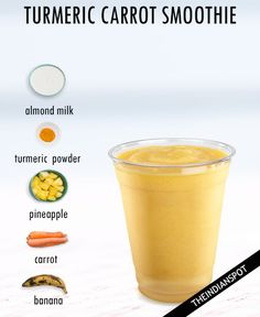 TURMERIC COCONUT SMOOTHIE RECIPE You need 1 cup frozen pineapple cubes, 1 cup coconut milk, 1-inch fresh turmeric or 1/2 teaspoon ground turmeric, 1 banana and 1 tsp coconut oil. Blend until smooth. Add more juice or coconut milk as needed to thin. You may add ice cubes for a thick chilled texture. TURMERIC SPICE SMOOTHIE You …