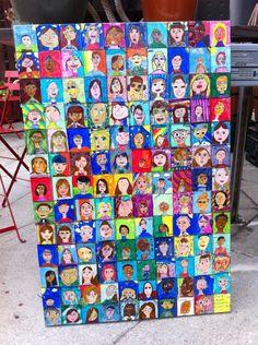 "Back to School portraits. Make a school portrait quilt using paper.(3""x3"" squares)"