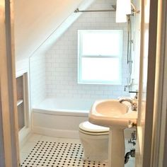 1000 images about attic bathroom on pinterest attic for Small bathroom with sloped ceiling