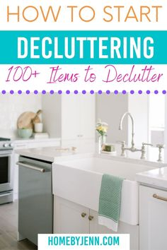If you're ready to learn how to declutter your home you're in the right place. I'm showing you how to start decluttering with a list of more than 100 items to declutter. via @homebyjenn Declutter Your Home, Organizing Your Home, Cleaning Hacks, Cleaning Routines, Daily Routines, Home Inventory, Paint Storage, Phone Books, Decluttering