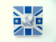 Blue Union Jack Flag Sailor Style Swallow Light Switch - Handmade by Candy Queen Designs
