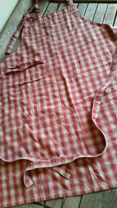Red and Cream Gingham Apron by FARMHOUSE1711 on Etsy
