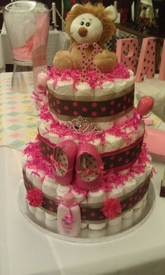 Jungle Princess Diaper Cake for Baby Girl, pink and brown polka dot. $100.00, via Etsy.