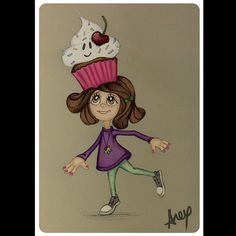 Today's mood! ^^ #cupcakes  #happiness  #fabercastell  #cherry #illustration