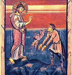 Miracles of Jesus: Healing a Demon-Possessed Man Who Couldn't Speak: A medieval painting of the Bible story in Matthew 9 of Jesus Christ healing a mute man possessed by a demon.