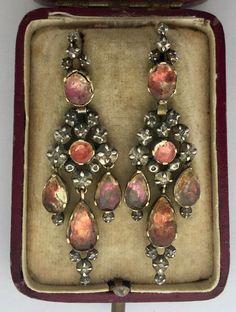870d20126d18 A Stunning Pair Of Topaz   Rose Cut Diamond Earrings Circa 1760 s