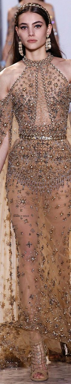 Close up - we love this meticulously embellished Elie Saab Spring 2017 Couture cold shouldered gown. Couture Details, Fashion Details, Fashion Design, Beautiful Gowns, Beautiful Outfits, Runway Fashion, Trendy Fashion, Couture Dresses, Fashion Dresses