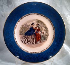 Vintage 1940s Century by Salem China Company 23 Kt Blue Godey Print Service Plate by AnchorLineVintage on Etsy