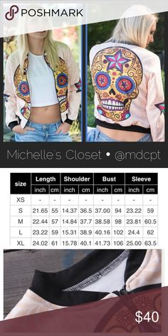 COMING SOON • Sugar Skull Jacket Poly/cotton blend bomber style jacket.  Please see chart for sizing guidance.  S - XL one of each available.  This matches the makeup bag in my closet.  Hand wash and flat dry. Jackets & Coats