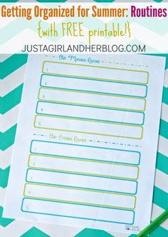 Simple little printable to help you get your days organized this summer! | Just a Girl and Her Blog