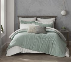 14 Fabulous Rustic Chic Bedroom Design and Decor Ideas to Make Your Space Special - The Trending House Sage Green Bedroom, Green Bedroom Decor, Room Ideas Bedroom, Gray Bedroom, Bedroom Inspo, Bedroom Colors, Bedroom Bed, Grey Green Bedrooms, Green Rooms