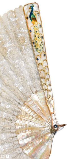 Art Nouveau mother-of-pearl fan, jewelled, enamelled gilt-metal mounts,Brussels lace, Dresden, circa 1910