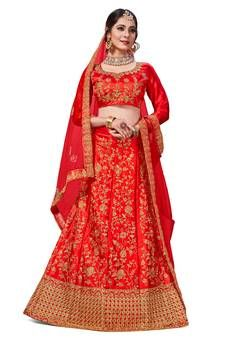 Red Satin Silk Lehenga Choli with Zari Embroidery Satin Color, Pink Silk, Pink Satin, Embroidered Clothes, Embroidered Silk, Fashion Sale, Big Fashion, Silk Lehenga, Silk Sarees
