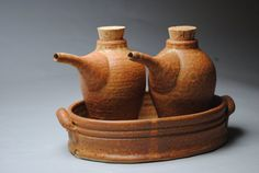Clay Oil and Vinegar Set with Tray  Orange by JohnMcCoyPottery, $95.00 www.etsy.com/shop/JohnMcCoyPottery