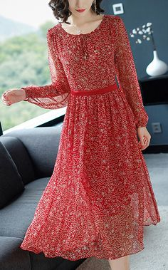 7af0773bc7 Casual Floral O-Neck Long Sleeve Lacing Maxi Dress